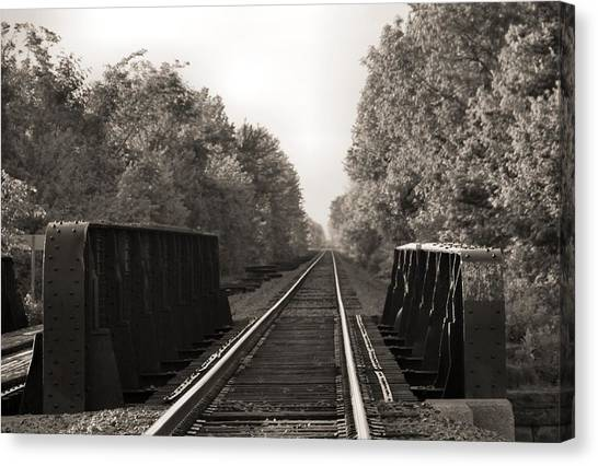 Train Conductor Canvas Print - Old Train Tracks On Bridge by Dan Sproul