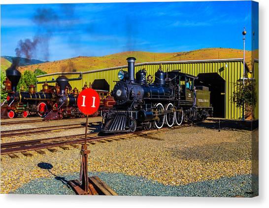 Steam Trains Canvas Print - Old Trains In Barn Yard by Garry Gay