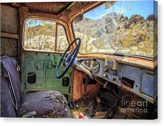 Rusty Truck Canvas Print - Old Truck Interior Nevada Desert by Edward Fielding