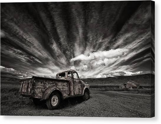 Truck Canvas Print - Old Truck (mono) by Thorsteinn H. Ingibergsson