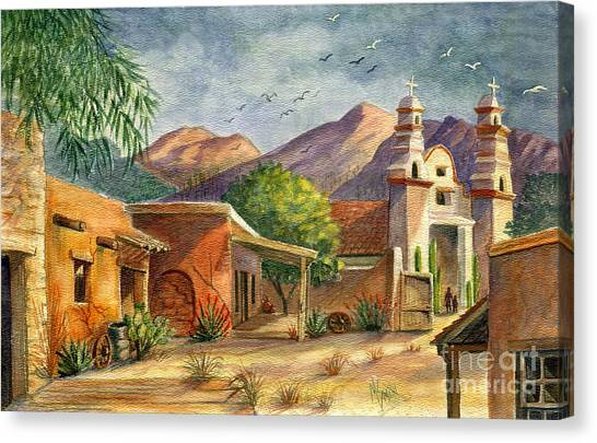 Mission Canvas Print - Old Tucson by Marilyn Smith