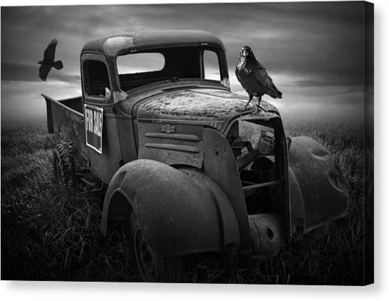 Old Vintage Chevy Pickup Truck With Ravens Canvas Print