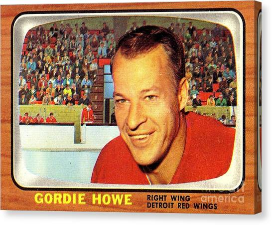 Gordie Howe Canvas Print - Old Vintage Gordie Howe Hockey Card Collectable by Pd