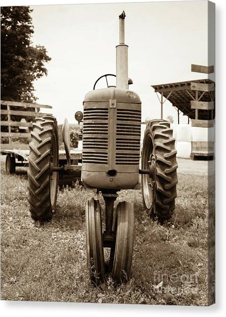 New Hampshire Canvas Print - Old Vintage Tractor Cornish New Hampshire by Edward Fielding