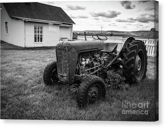 Ashes Canvas Print - Old Vintage Tractor Iceland by Edward Fielding