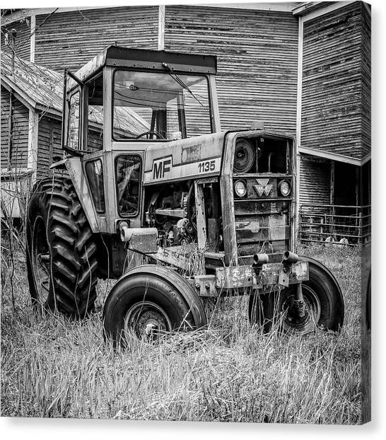 White Canvas Print - Old Vintage Tractor On A Farm In New Hampshire Square by Edward Fielding