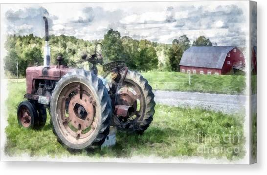 John Deere Canvas Print - Old Vintage Tractor On The Farm by Edward Fielding