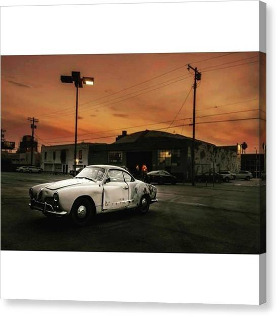 Hollywood Canvas Print - #old #vintage #vintagecar #sunset by Andrei Andries