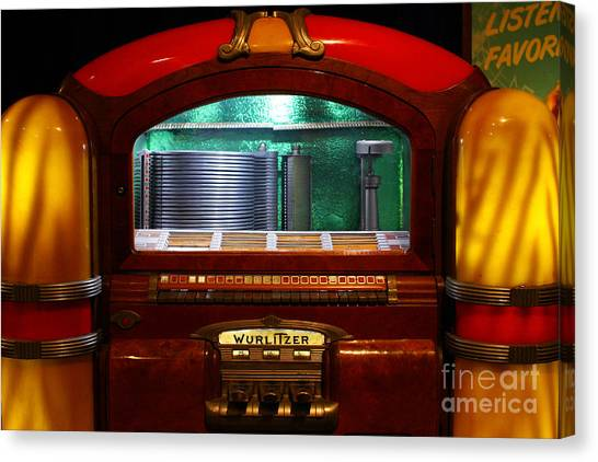 Jukebox Canvas Print - Old Vintage Wurlitzer Jukebox . 7d13100 by Wingsdomain Art and Photography