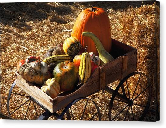 Hay Bales Canvas Print - Old Wagon Full Of Autumn Fruit by Garry Gay