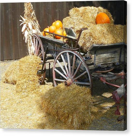 Corn Maze Canvas Print - Old Wagon by Loring Laven