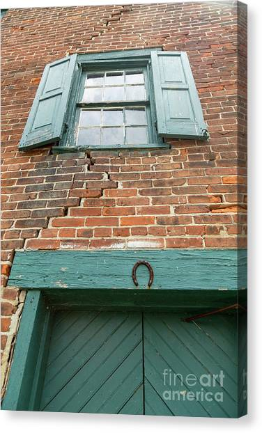 Old Warehouse Window And Lucky Door Canvas Print
