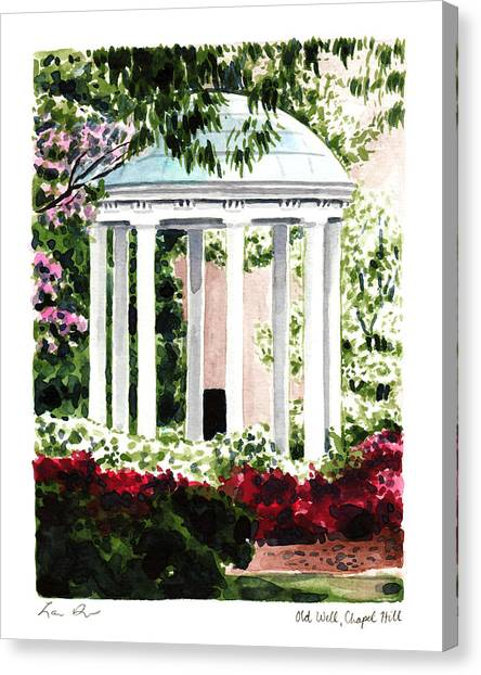 University Of North Carolina Chapel Hill Canvas Print - Old Well Chapel Hill Unc North Carolina by Laura Row