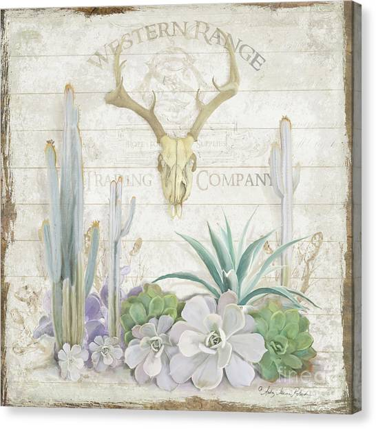Succulent Canvas Print - Old West Cactus Garden W Deer Skull N Succulents Over Wood by Audrey Jeanne Roberts