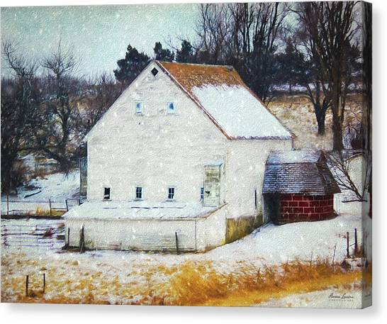 Old White Barn In Snow Canvas Print