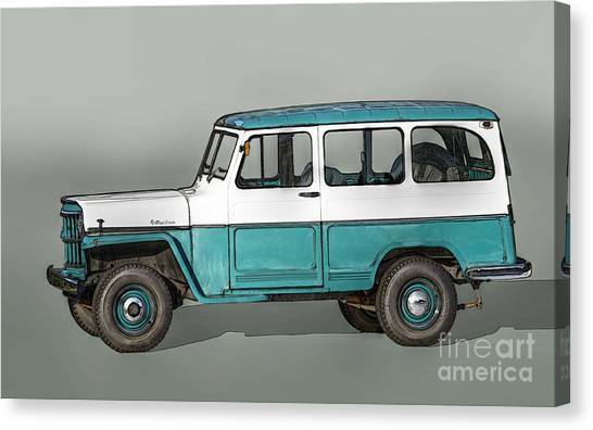 Offroading Canvas Print - Old Willys Jeep Wagon by Randy Steele