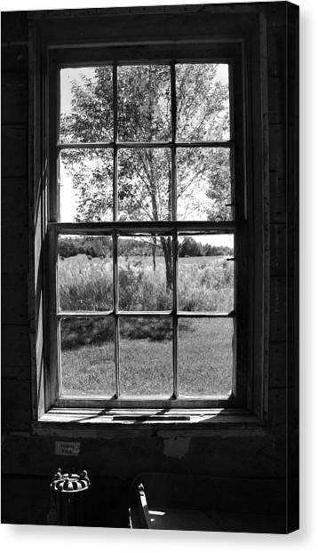 Old Window Bw Canvas Print