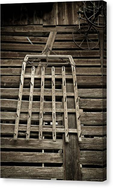 Old Wood Barn Detail Canvas Print by Frank Tschakert