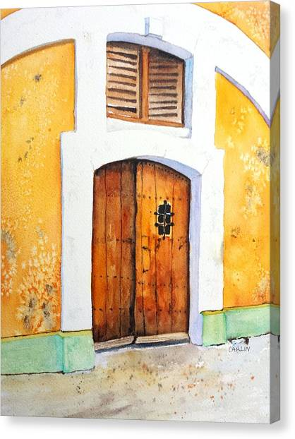 Spanish Fort Canvas Print - Old Wood Door Arch And Shutters by Carlin Blahnik CarlinArtWatercolor