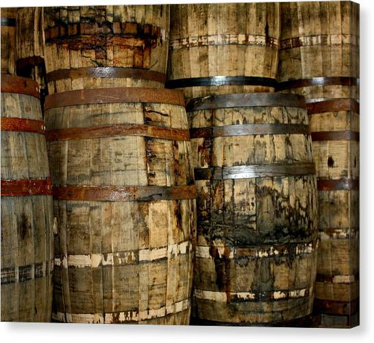 Old Wood Whiskey Barrels Canvas Print