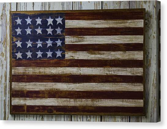 Gay Flag Canvas Print - Old Wooden American Flag by Garry Gay