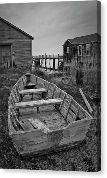 Old Wooden Boat Bw Canvas Print