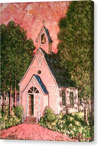 Church Yard Canvas Print - old wooden Church by Frank Morrison