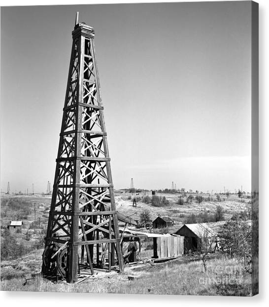Oil Rigs Canvas Print - Old Wooden Derrick by Larry Keahey