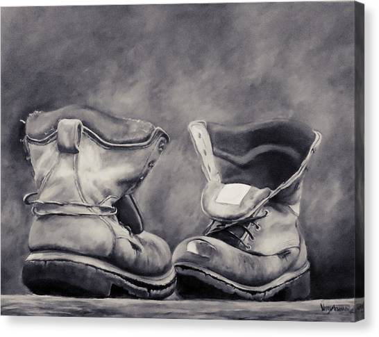 Boot house canvas print old work boots in black and white by venetka arsenov