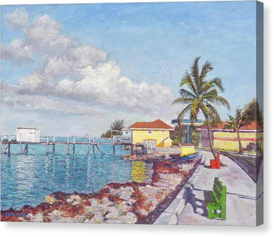 Old Yellow Gas Station By The Waterfront - Cooper's Town Canvas Print