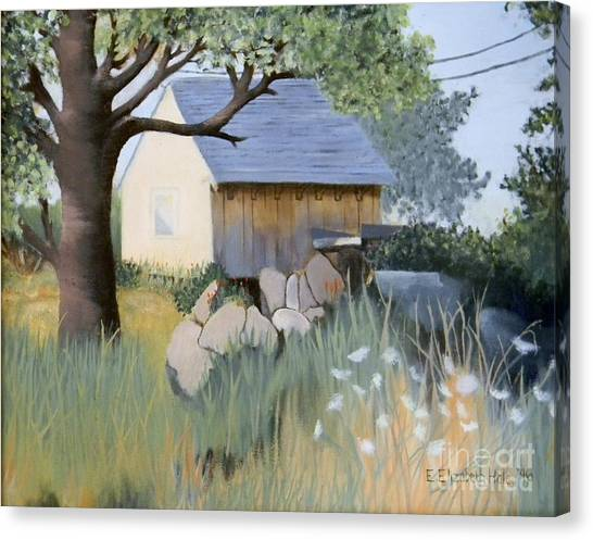 Old Yellow Shed Canvas Print by Emily Michaud