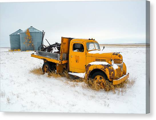 Old Trucks Canvas Print - Old Yellow by Todd Klassy