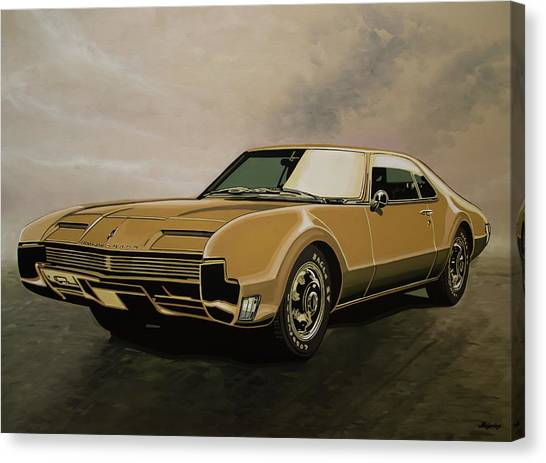 Ponies Canvas Print - Oldsmobile Toronado 1965 Painting by Paul Meijering