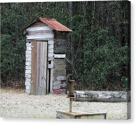 Oldtime Outhouse - Digital Art Canvas Print