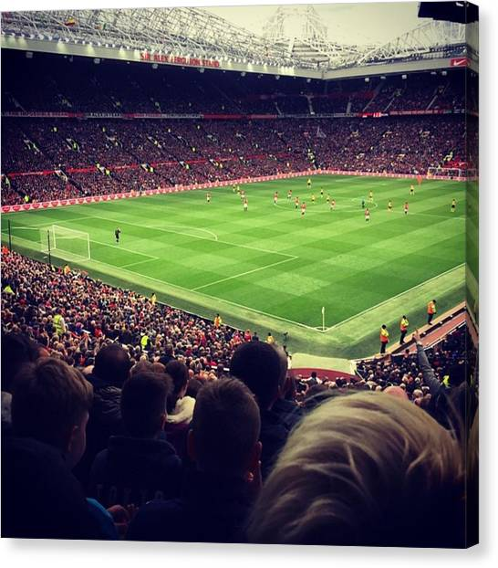 Manchester United Canvas Print - #oldtrafford #manchester #mufcvafc by Malik Ferhat