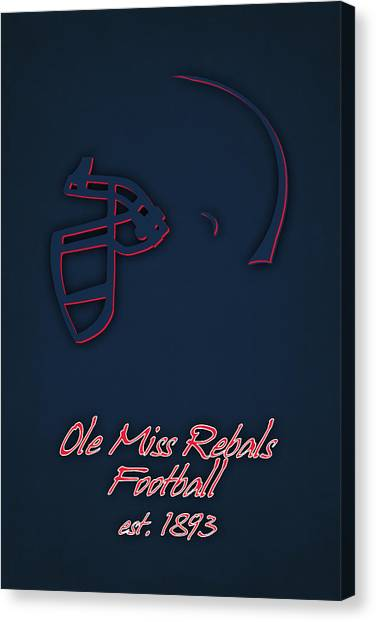 Mississippi State University Canvas Print - Ole Miss Rebels Helmet 2 by Joe Hamilton