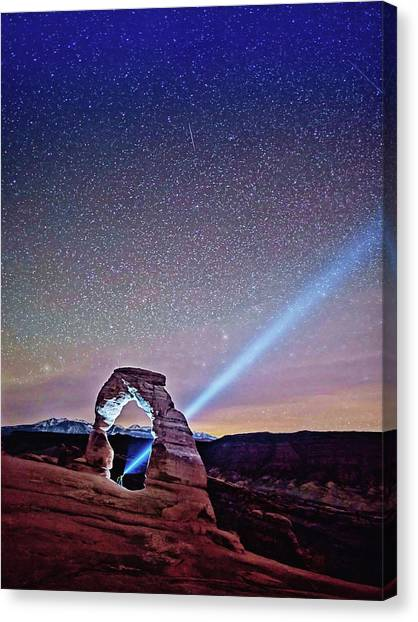 Olena Art Starry Night Pointer At Delicate Arch Moab National Park Canvas Print