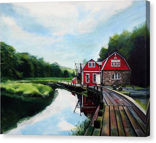 Ole's Boathouse In Riverside Connecticut Canvas Print by Colleen Proppe