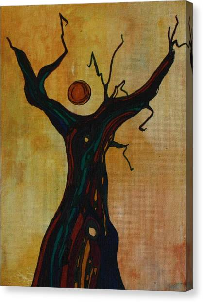 Olive Tree Woman Canvas Print