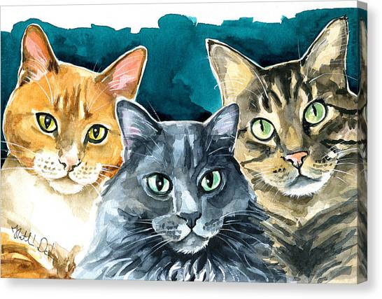 Watercolor Pet Portraits Canvas Print - Oliver, Willow And Walter - Cat Painting by Dora Hathazi Mendes
