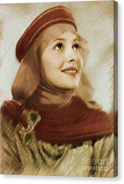 Stardom Canvas Print - Olivia De Haviland, Vintage Actress by Mary Bassett