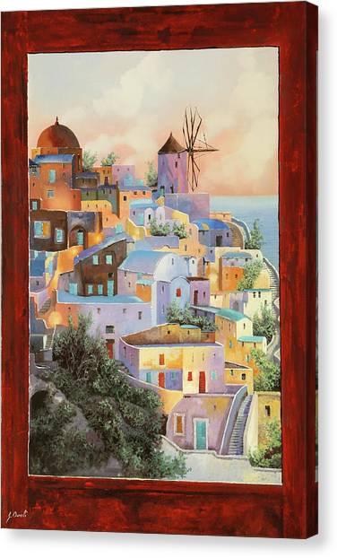 Santorini Canvas Print - oltre la finestra il mulino a Santorini by Guido Borelli