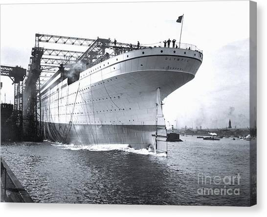 Belfast Canvas Print - Olympic Being Lauched by The Titanic Project