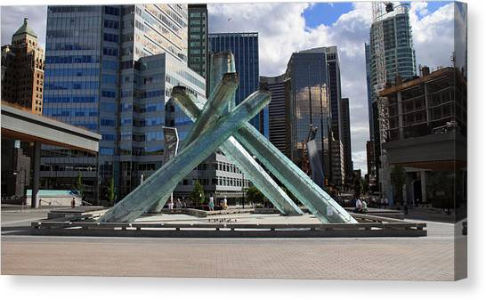 Olympic Cauldron Vancouver Canada Canvas Print by Pierre Leclerc Photography