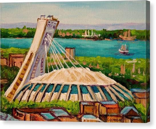 China Town Canvas Print - Olympic Stadium  Montreal by Carole Spandau