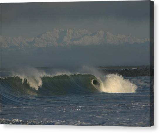 Olympics Over Halfmoon Bay Canvas Print by Mike Coverdale