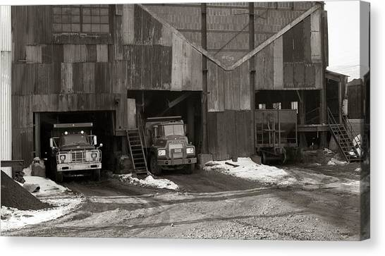 Olyphant Pa Coal Breaker Loading Trucks And Gondola Car Winter 1971 Canvas Print