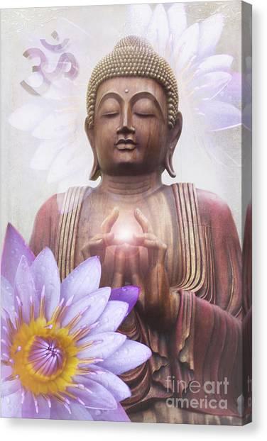Om Mani Padme Hum - Buddha Lotus Canvas Print