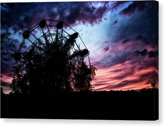 Ominous Abandoned Ferris Wheel Canvas Print