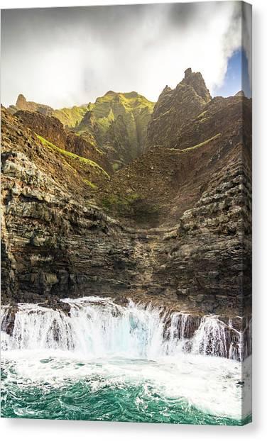 Ocean Cliffs Canvas Print - Ominous Napali by Peter Irwindale